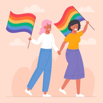 Beautiful lesbian couple with lgbt flag