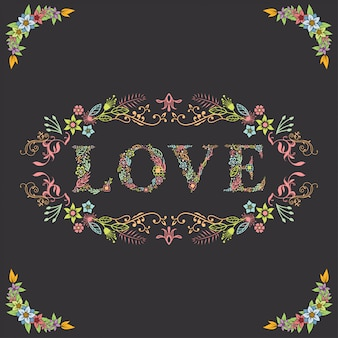 Beautiful letter love with floral border
