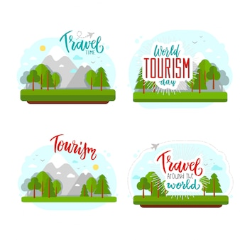 Beautiful lettering for tourism day with flat.