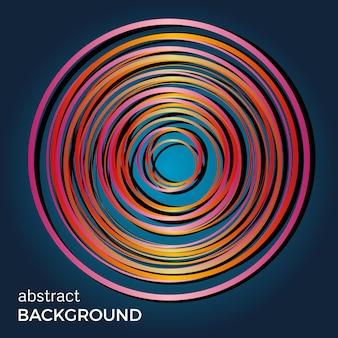 青い背景の上の美しい光の円。抽象的なフラッシュライトサークル。ベクトル技術の背景。