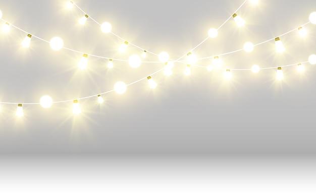 美しいライト。輝く花輪。