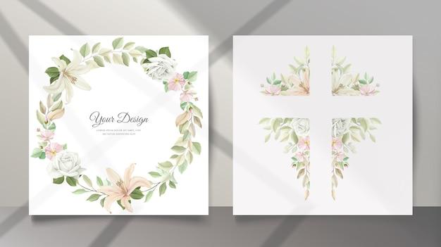 美しいユリの花の結婚式の招待カード