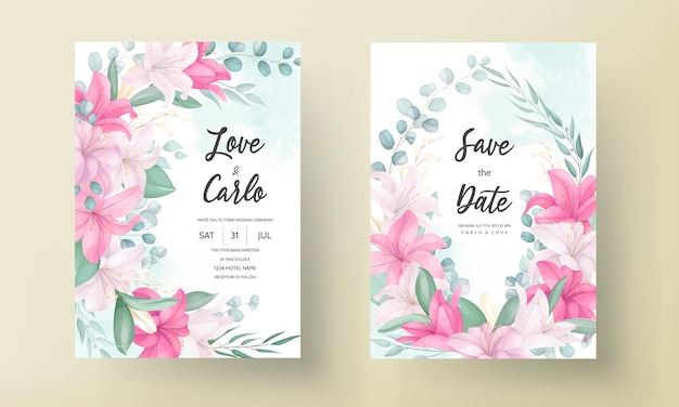 Beautiful lily flower wedding invitation card
