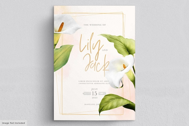Beautiful lily flowers wedding card