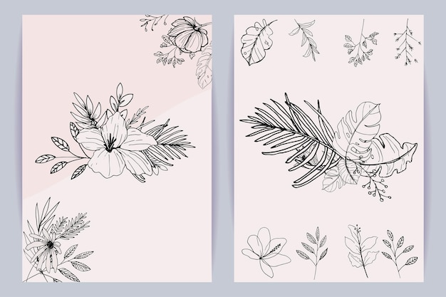Beautiful line art bouquet of flowers and leaves template set