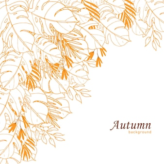 Beautiful line art floral autumn background