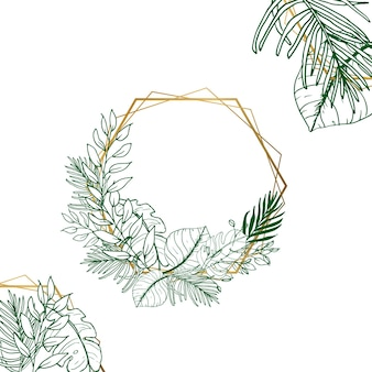 Beautiful line art floral card with golden hexagon frame