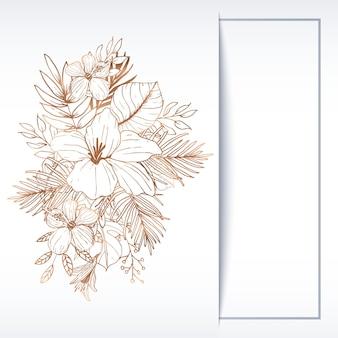 Beautiful line art floral greeting card invitation template