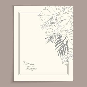 Beautiful line art floral monochrome background
