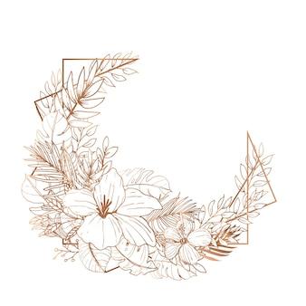 Beautiful line art floral wedding card invitation template