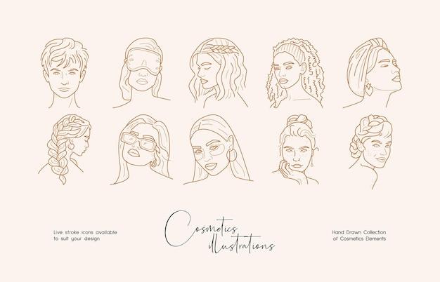 아름다운 라인 아트 그림 컬렉션 손으로 그린 아름다운 브랜드 아이덴티티 템플릿