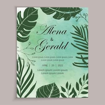 美しいラインアートリーフグリーン水彩背景ウェディングカードの招待状