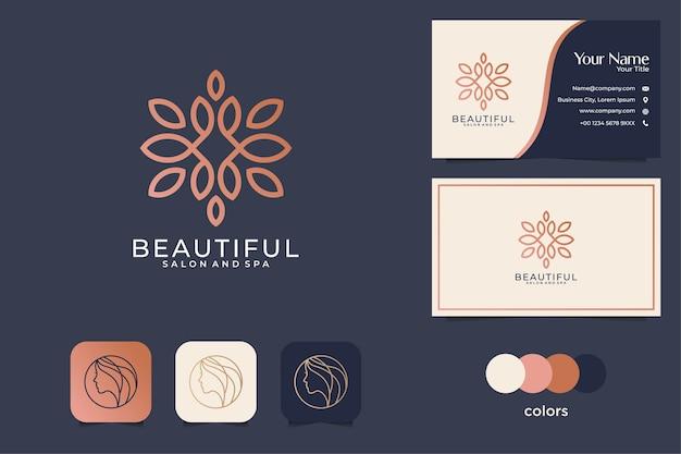 아름다운 라인 아트 로고 디자인 및 명함
