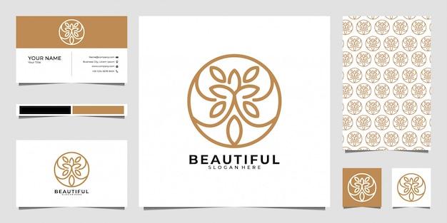 美しいラインアートのロゴデザイン、パターン、名刺