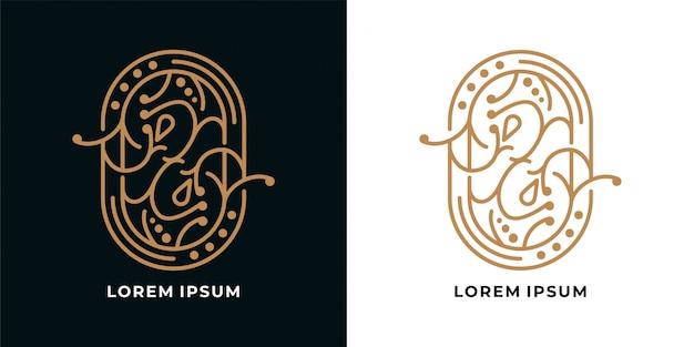 美しいラインアートヴィンテージロゴデザイン