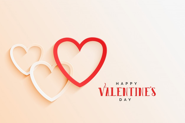 Beautiful line hearts elegant valentines day background