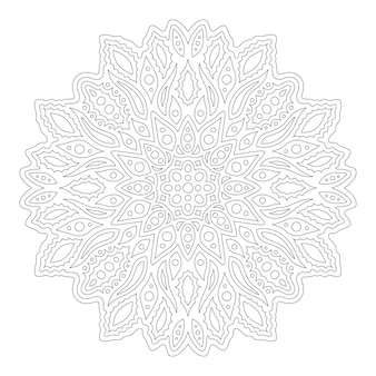 大人の塗り絵ページの美しい線形モノクロイラスト