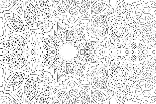 Красивая линейная монохромная иллюстрация для взрослых раскраска с цветочным