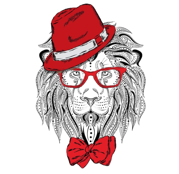 Beautiful lion in hat and glasses