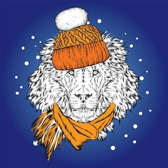 Красивый лев в зимней шапке и очках.