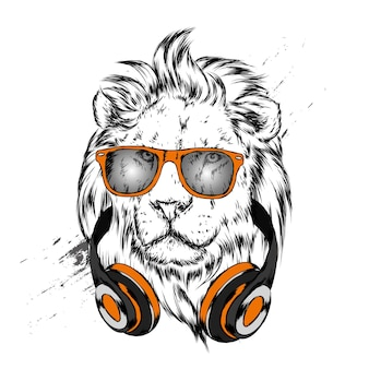 ヘッドフォンで美しいライオン