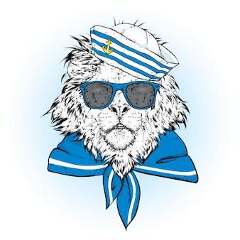 Beautiful lion in a sailors cap