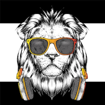 Beautiful lion in stylish clothes