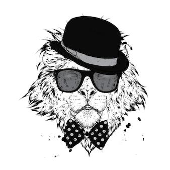 안경 및 모자와 함께 아름 다운 사자