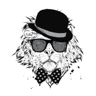 Beautiful lion with glasses and hat