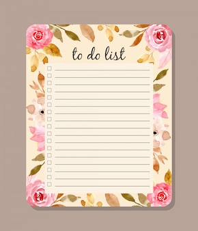 Beautiful to do list with floral watercolor