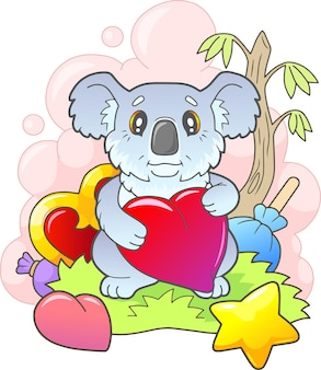 Красивая маленькая милая иллюстрация коалы