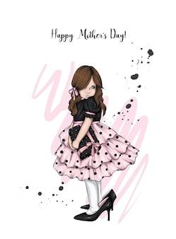 スタイリッシュなドレスと靴の美しい少女