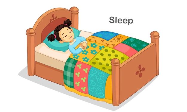 Beautiful little girl sleeping on a bed illustration