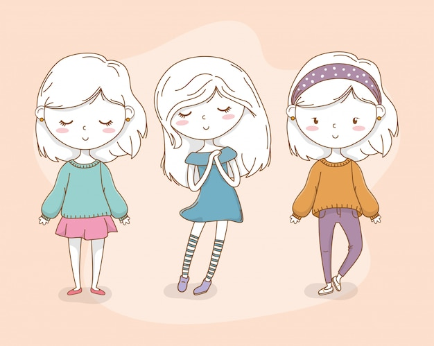 Beautiful little girls group with pastel colors