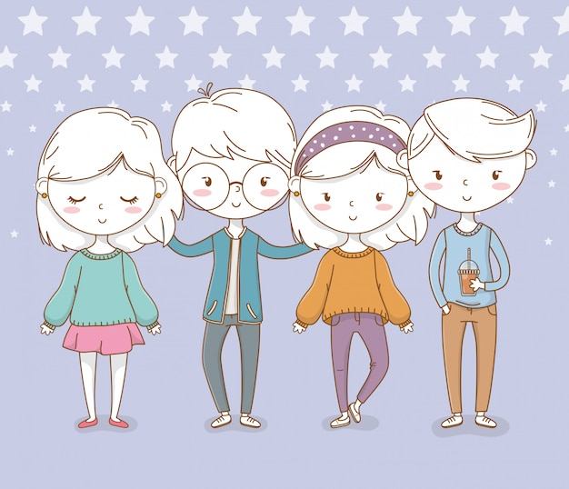 Beautiful little kids group with dotted background