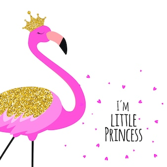 Beautiful little princess pink flamingo in golden crown.