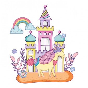 Beautiful little unicorn with castle and rainbow