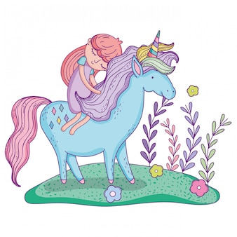 Beautiful little unicorn with princess in the landscape