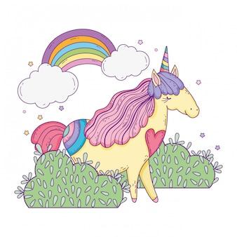 Красивый маленький единорог с радугой в ландшафте