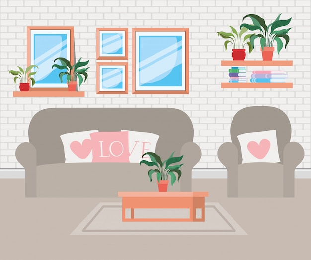 Beautiful living room house scene