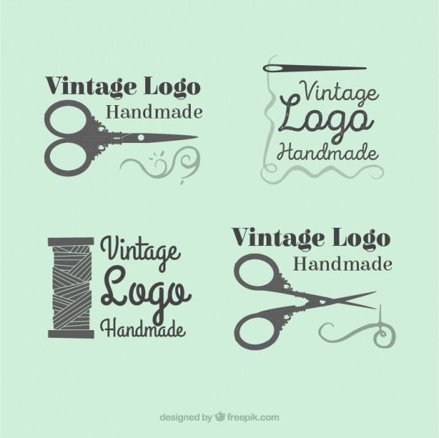 Beautiful logos set of hand drawn sewing