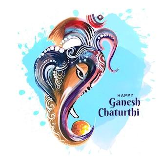 ガネーシュチャトゥルティカードの美しい主ガネーシャ水彩画