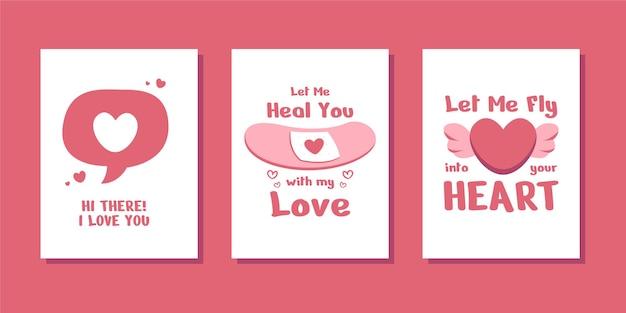 バレンタインの美しい愛のカードとポスター