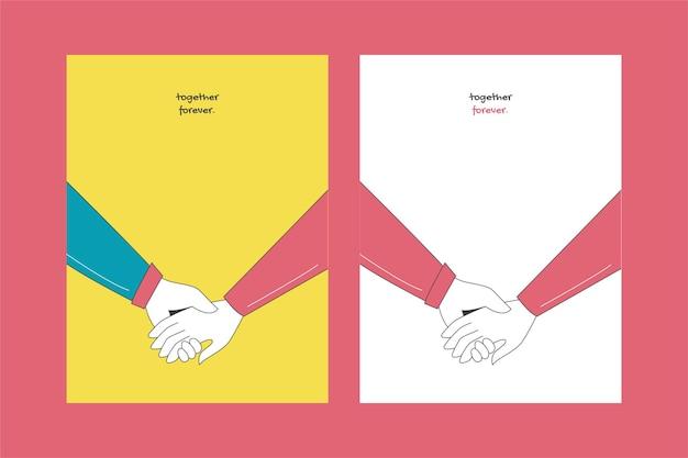 로맨틱 커플과 아름다운 사랑 카드