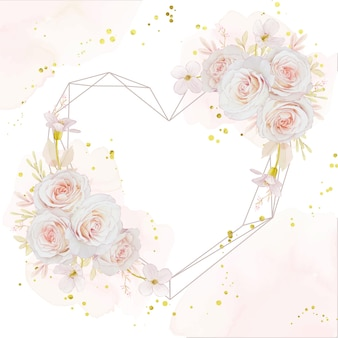 Beautiful love floral wreath with watercolor roses
