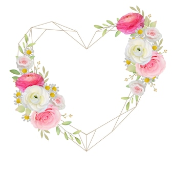 Beautiful love frame background with floral pink ranunculus and rose flowers