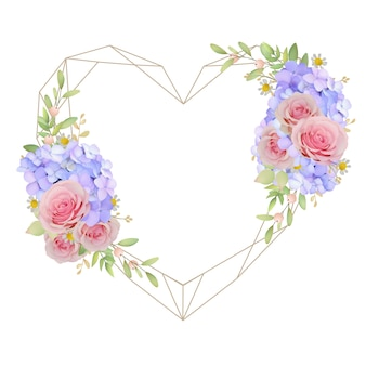 Beautiful love frame background with floral pink roses and hydrangea