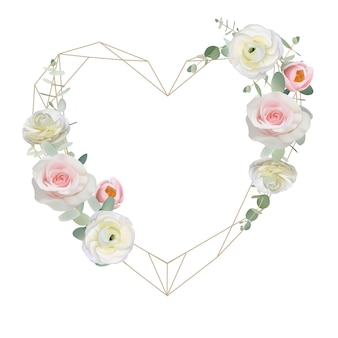 Beautiful love frame background with floral ranunculus and rose flowers