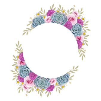 Beautiful love frame background with floral roses and succulent
