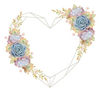 花の多肉植物と美しい愛フレームの背景